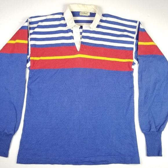 9386a33b L.L. Bean Shirts   Vtg 80s Ll Bean Rugby Polo Striped Color Block ...